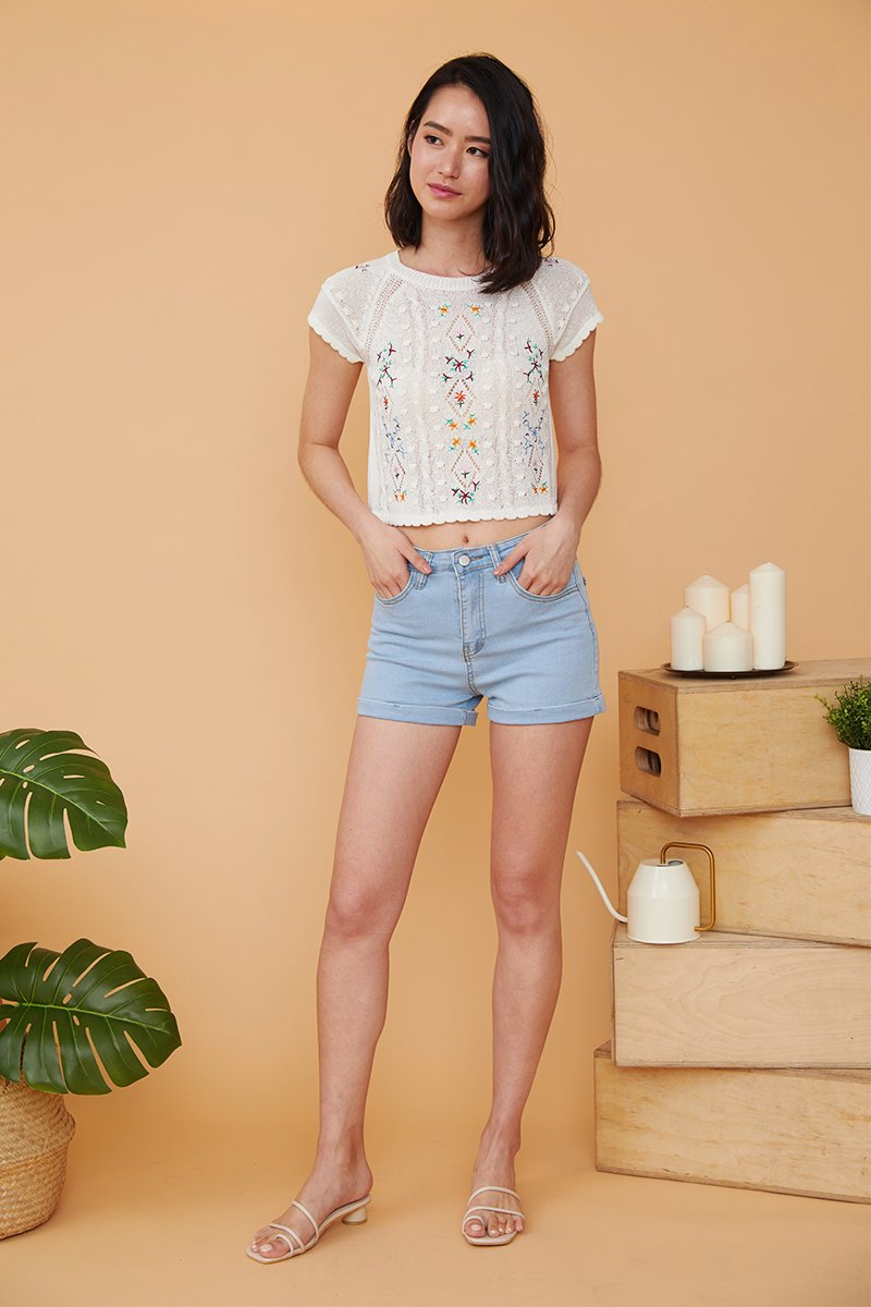 Crystal High Waisted Cuffed Hem Denim Shorts Light Wash