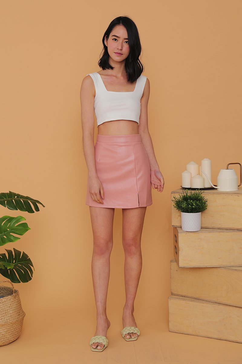 Everleigh Leather Slit Skirt Blush