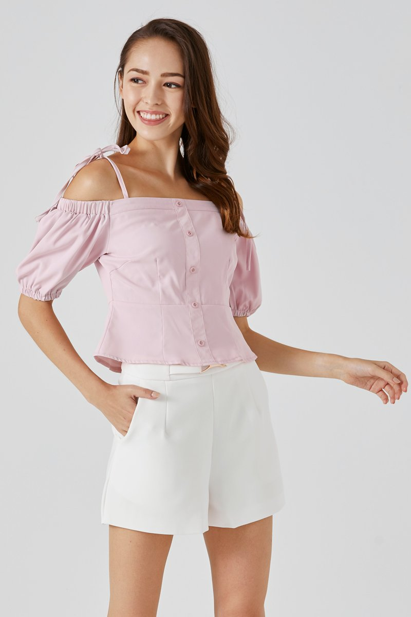 Fion Tie Strap Cold Shoulder Top Blush