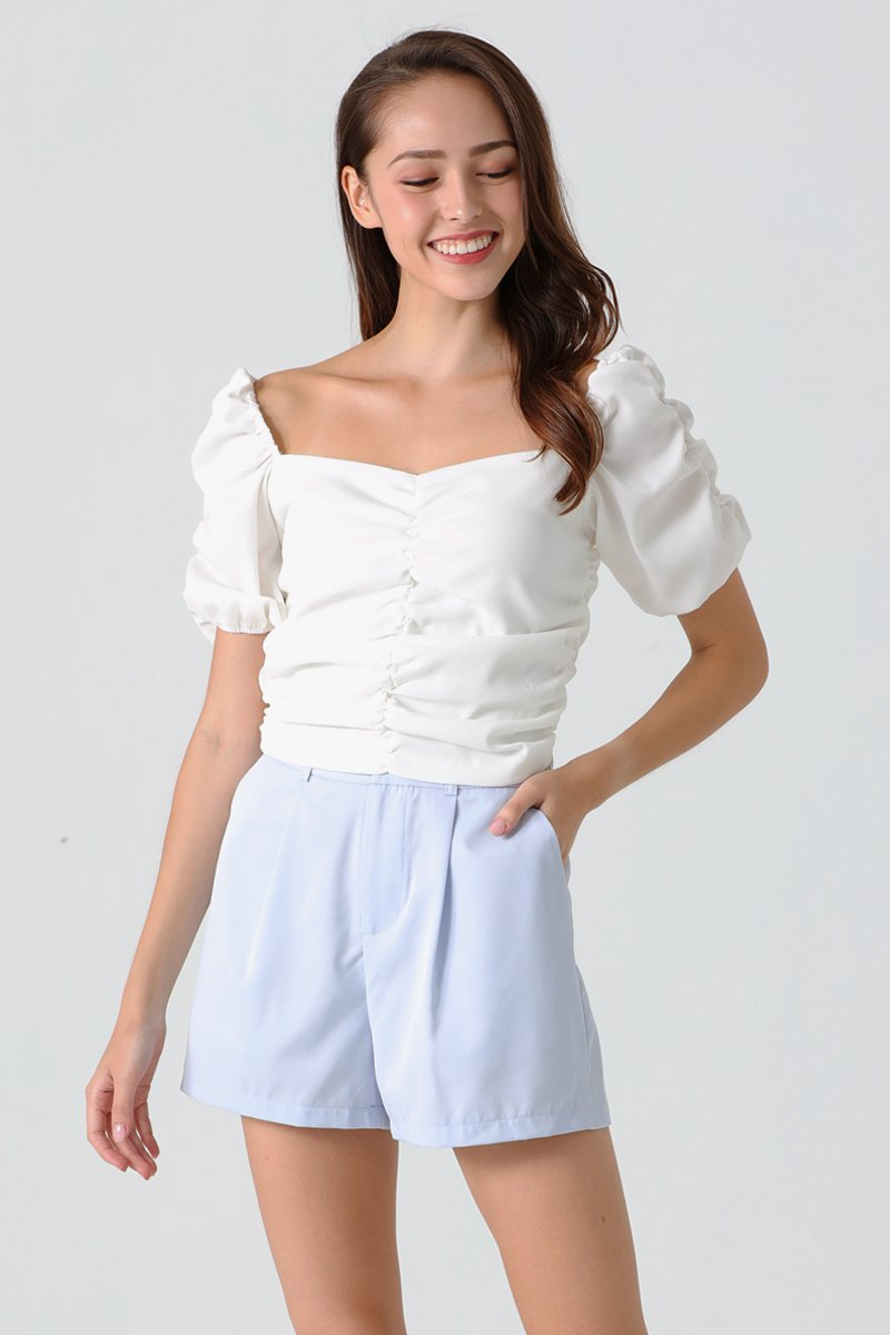 Clansy Puff Sleeve Gathered Top Ivory