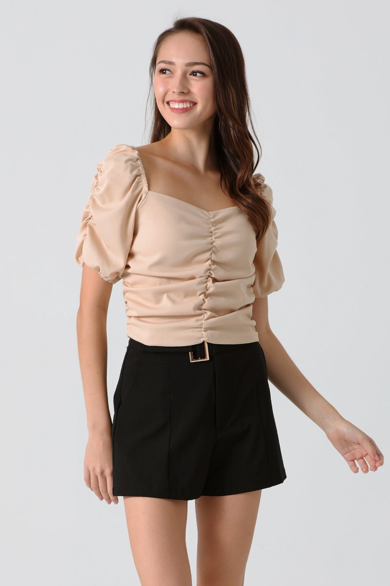 Clansy Puff Sleeve Gathered Top Nude