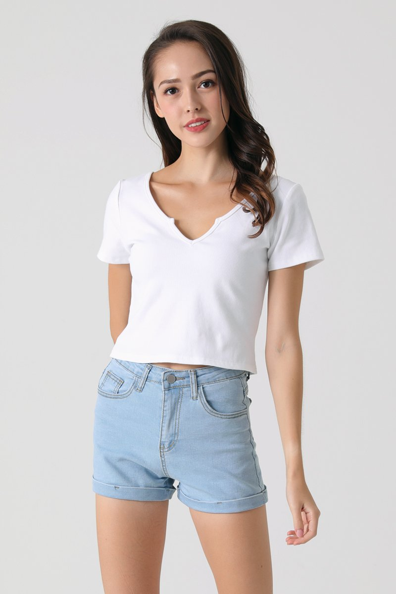 Kyrie Front Slit Crop Top Ivory