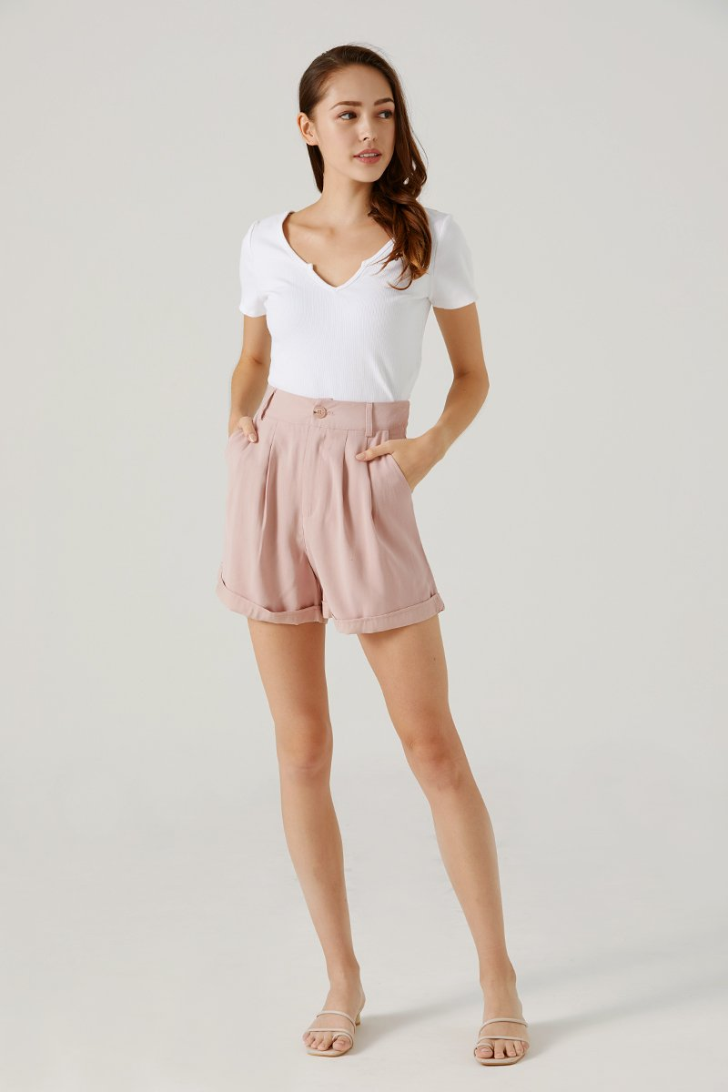 Kendice High Waist Shorts Blush