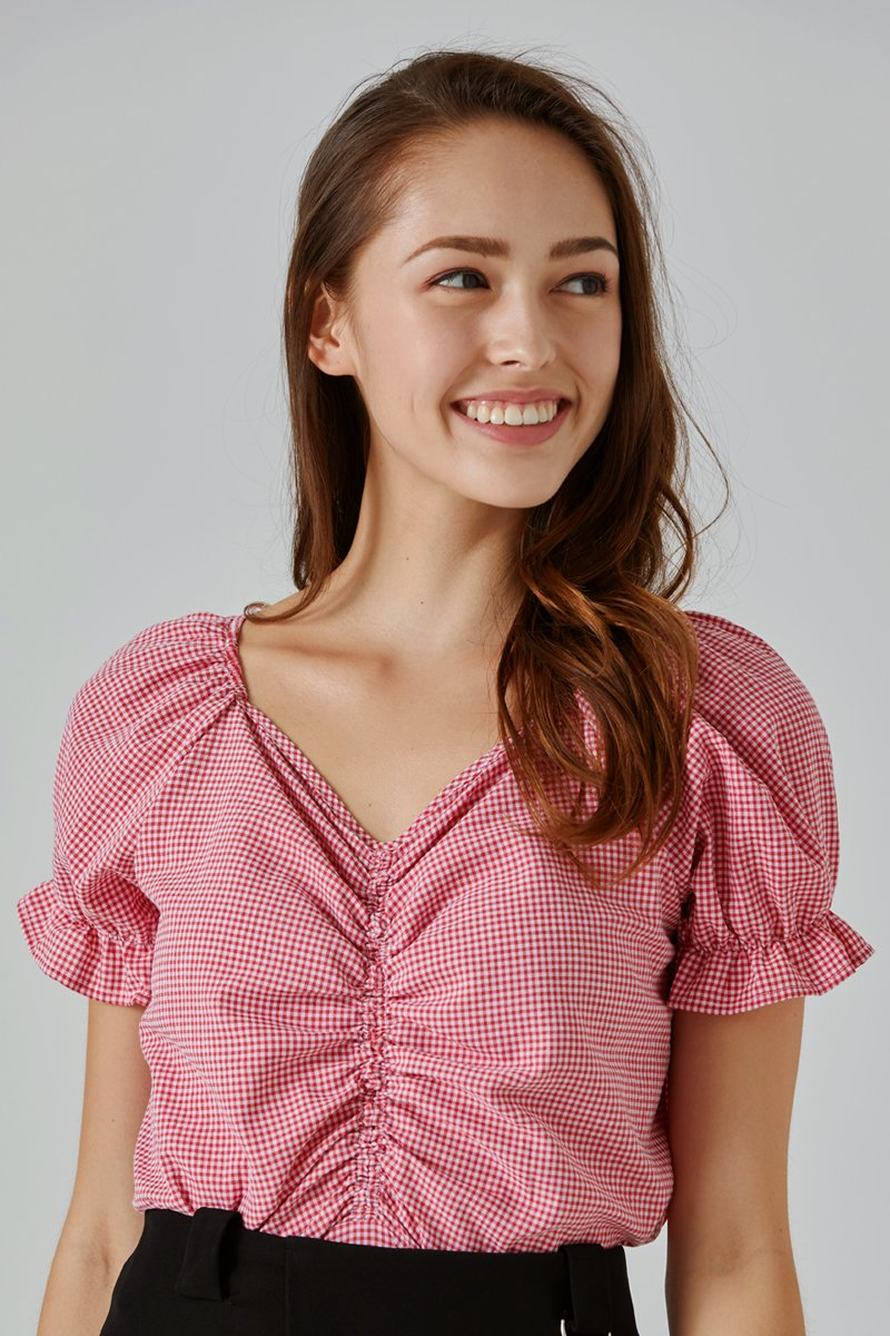 Louis Gingham Puff Sleeve Top Scarlet