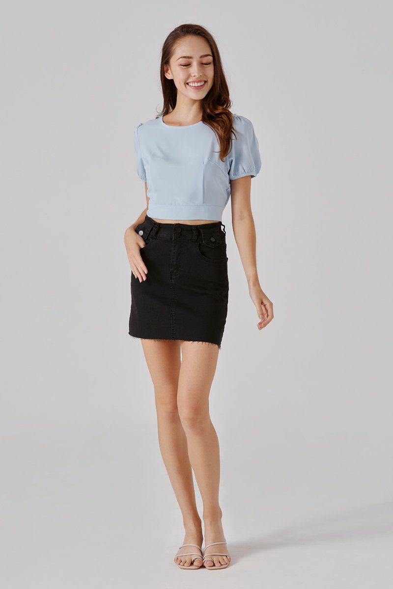 Elysa Raw Hem Denim Skirt Black