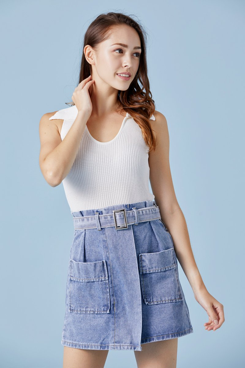 Everlee Paperbag Denim Skirt Lightwashed