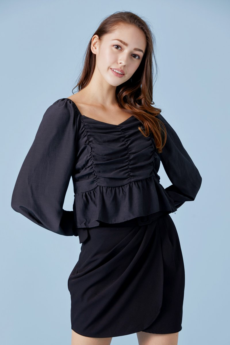 Reign Ruffled Ruched Top Black