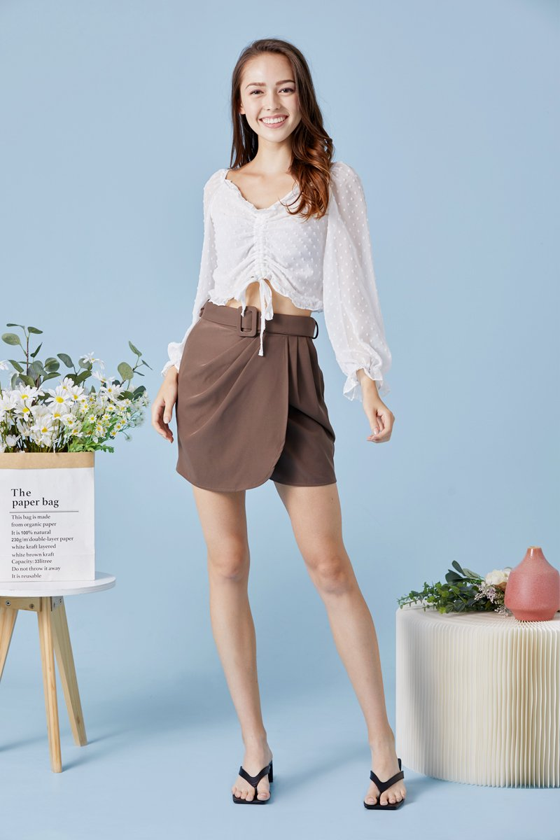 Stormi Front Ruched Top Ivory