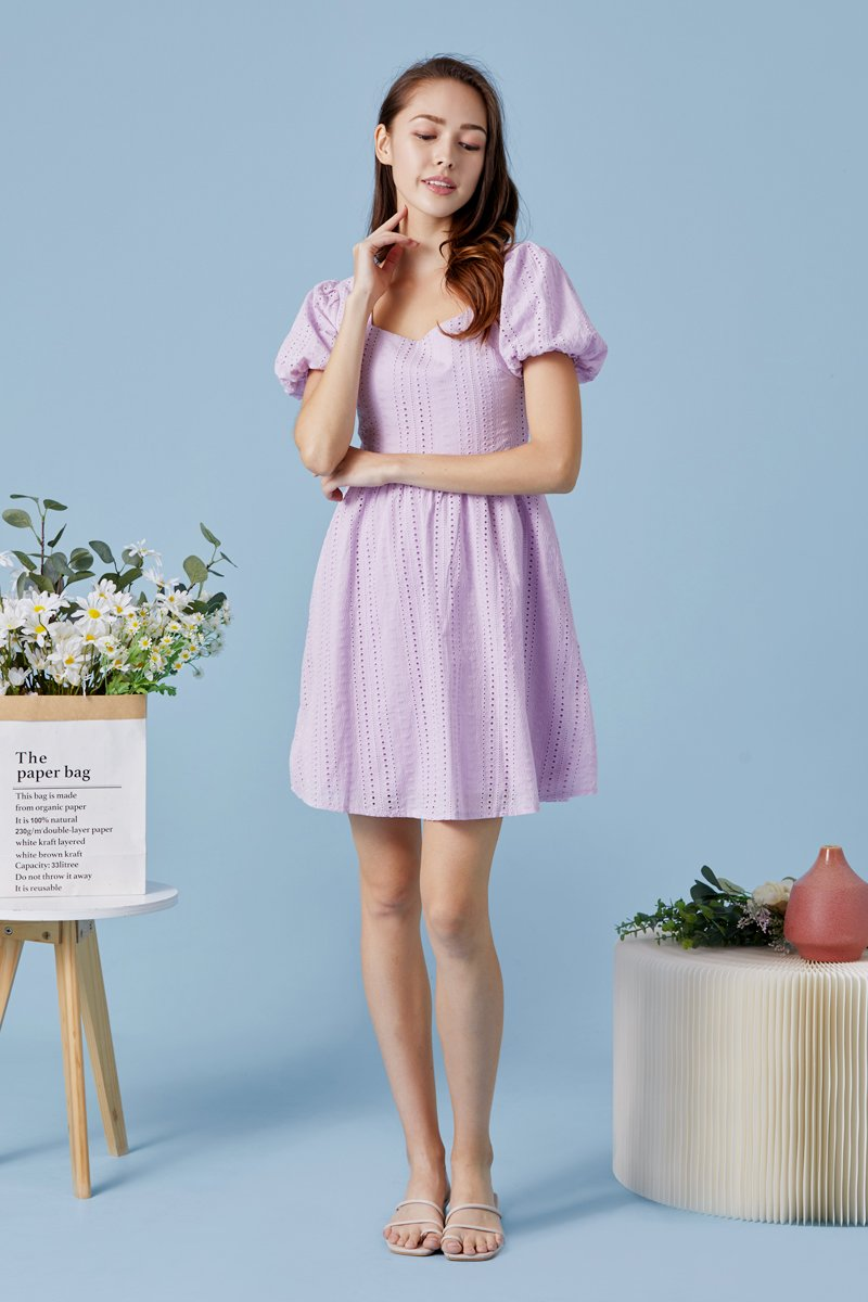 Emberly Puff Sleeves Eyelet Dress Lilac