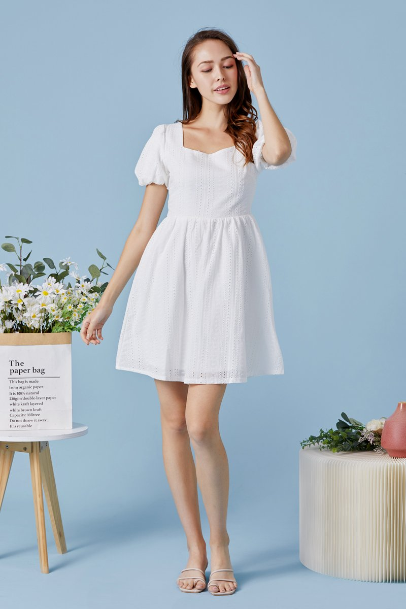 Emberly Puff Sleeves Eyelet Dress Ivory
