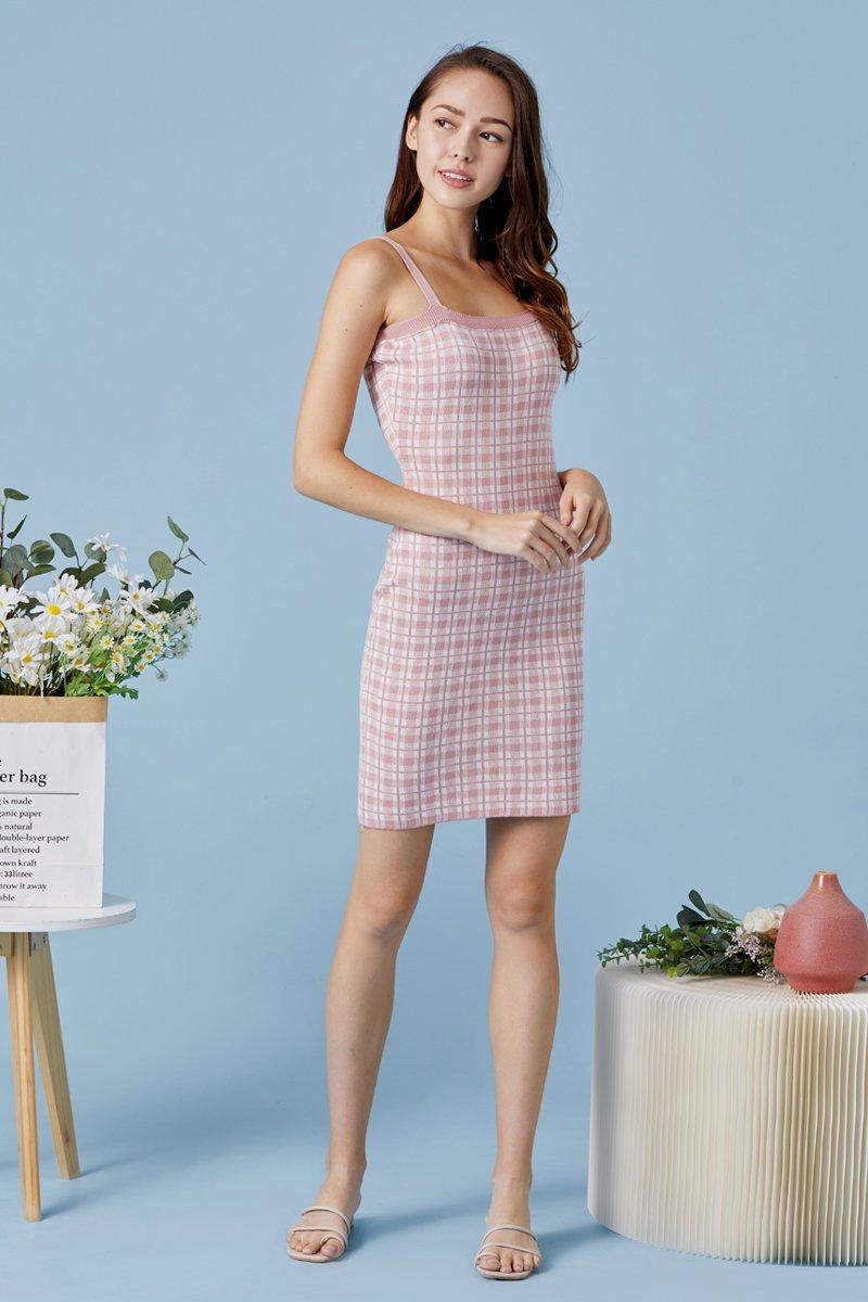 Primrose Checkered Knit Cami Dress Blush