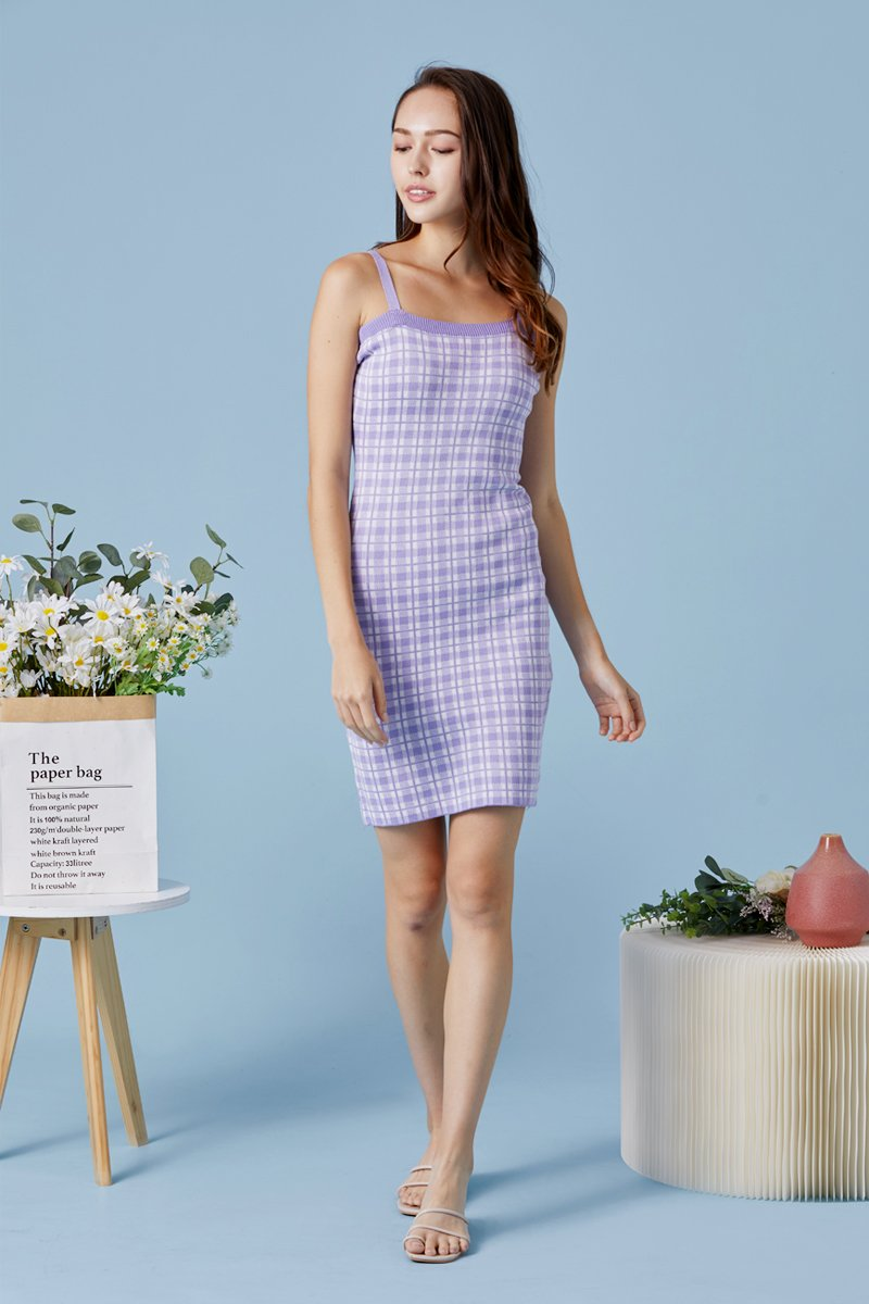Primrose Checkered Knit Cami Dress Lilac