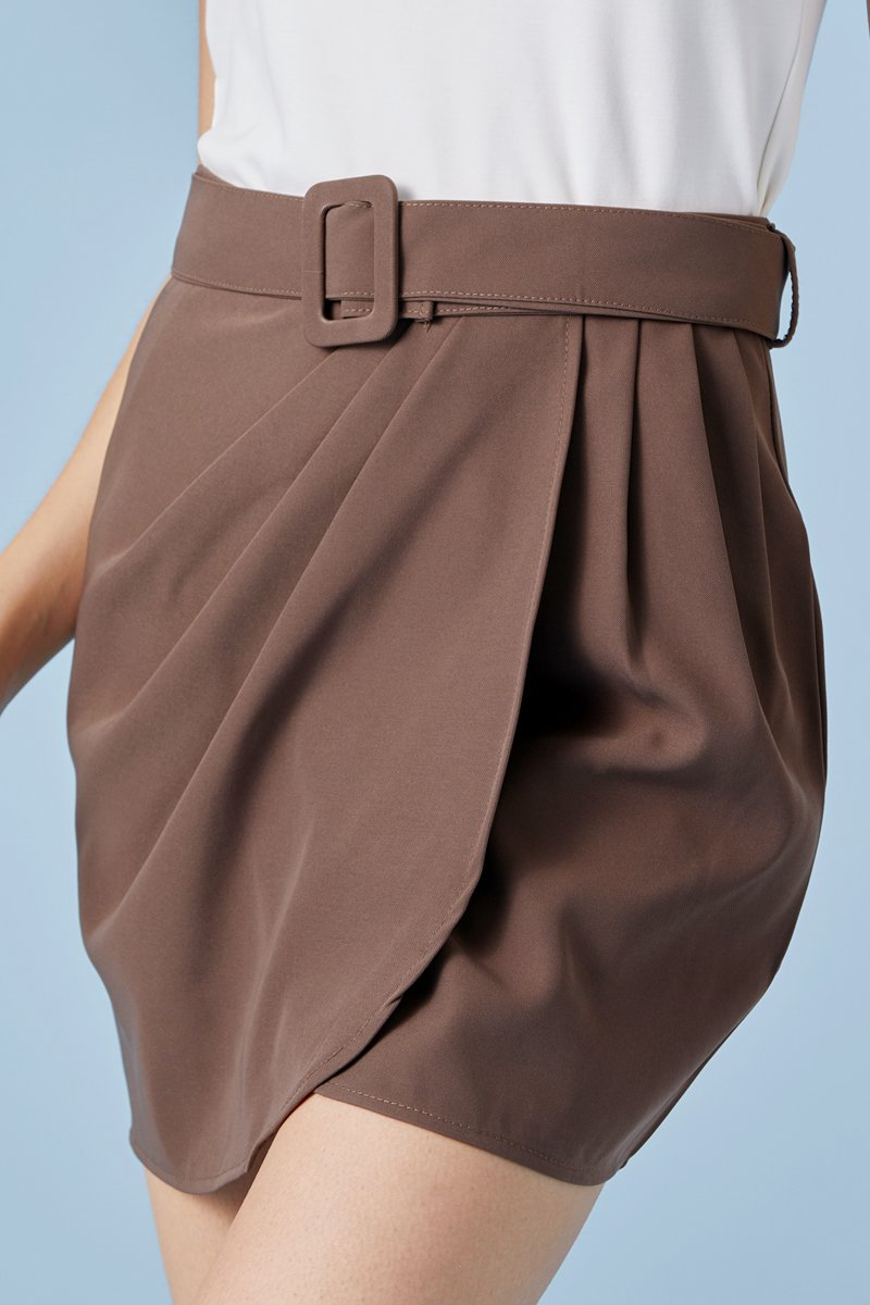 Brynleigh Overlapped Pleated Skirt Coffee