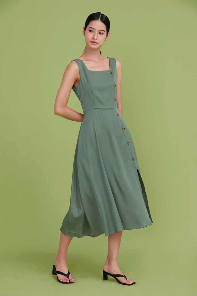 Moriko Buttoned Midi Dress Sage