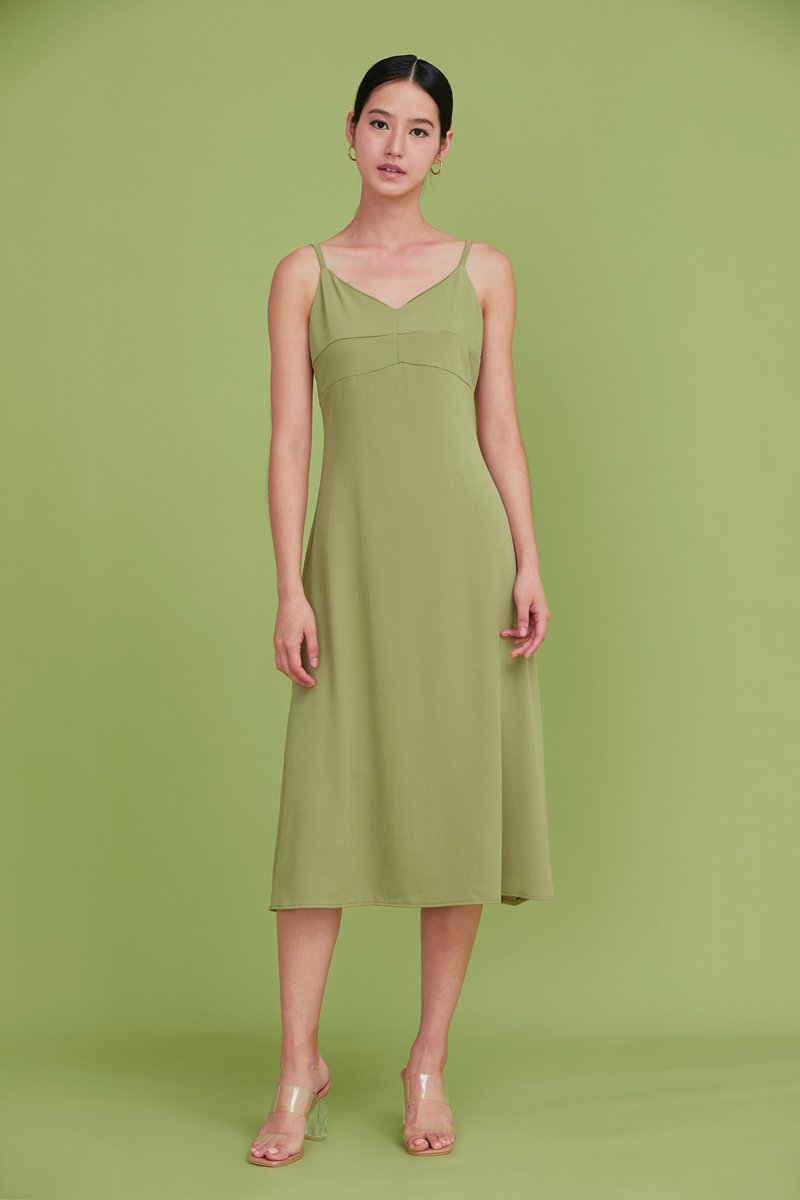 Camellia Midi Slip Dress Lime