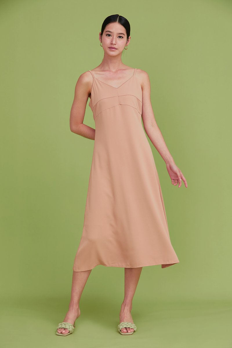 Camellia Midi Slip Dress Tan