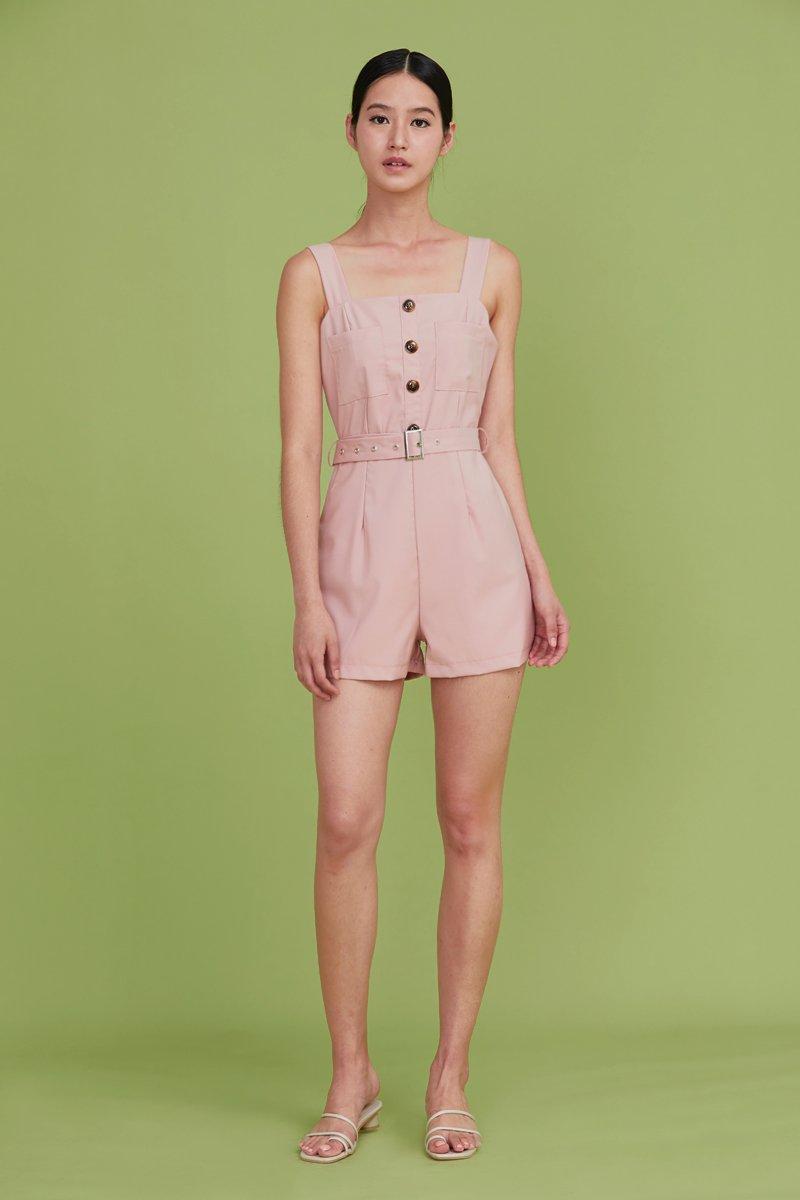 Kalei Buttoned Romper Blush