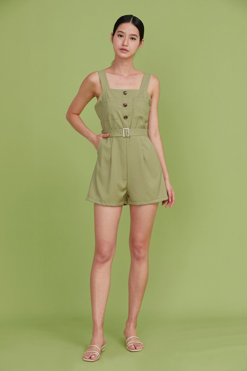 Kalei Buttoned Romper Sage