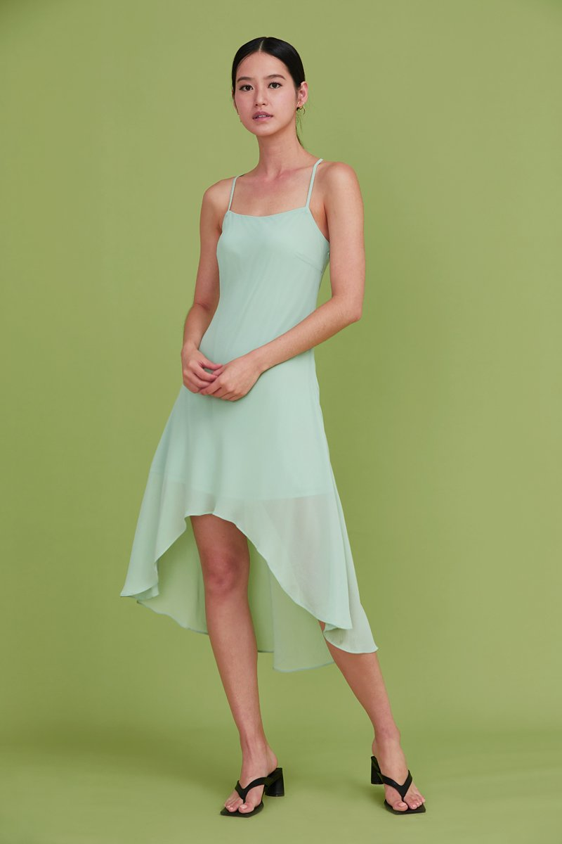 Lin Cross Back Slip Dress Mint