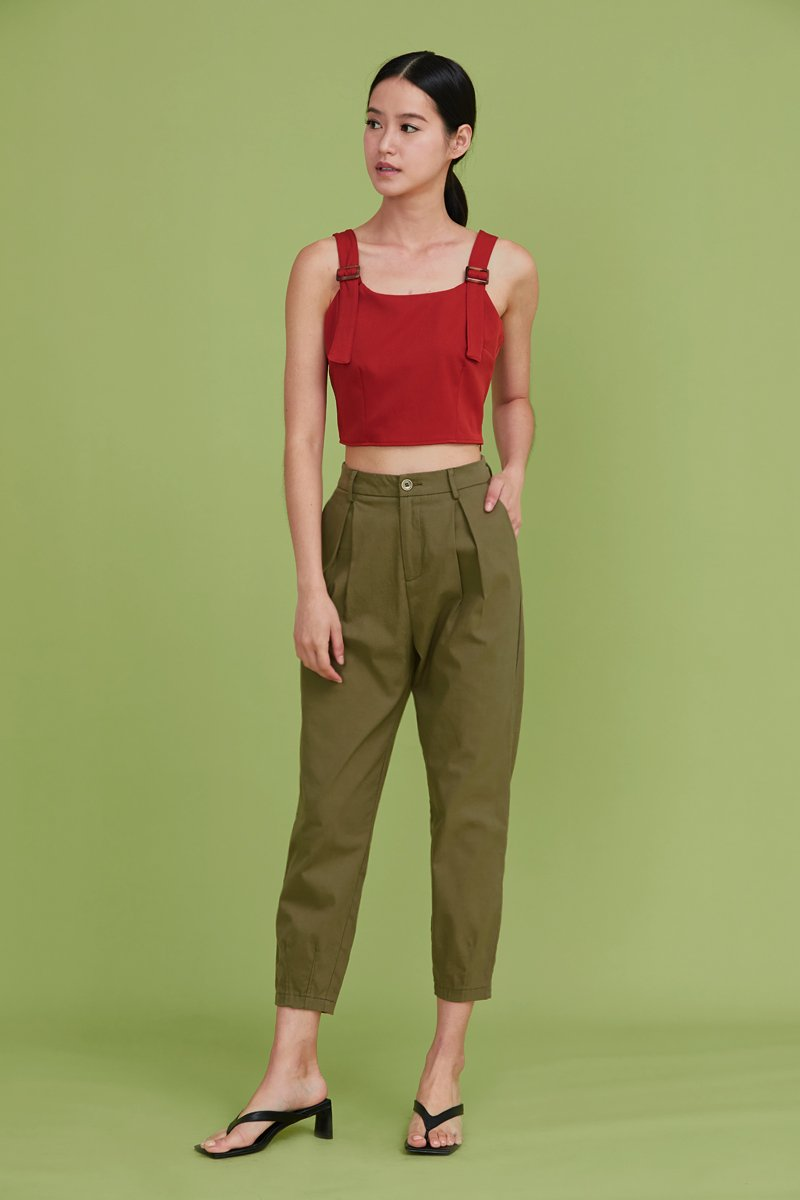 Yaelle Pleated Tapered Pants Olive