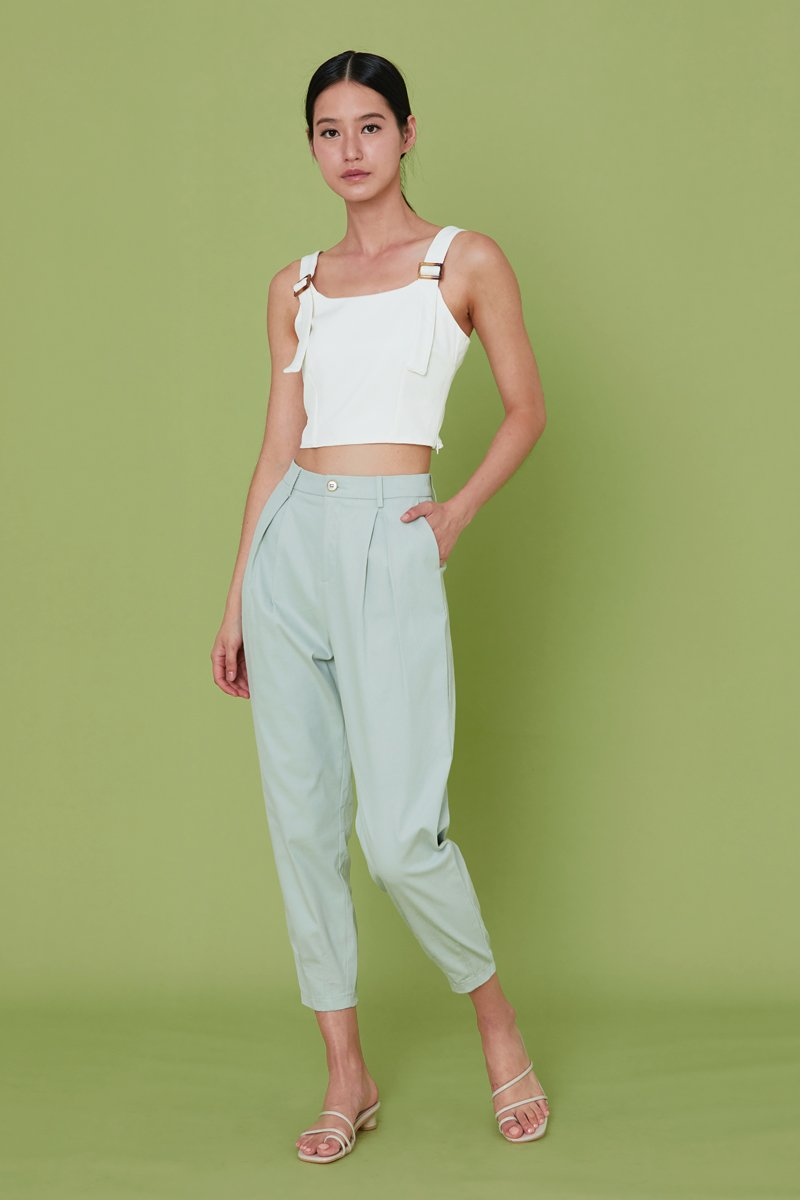 Yaelle Pleated Tapered Pants Mint