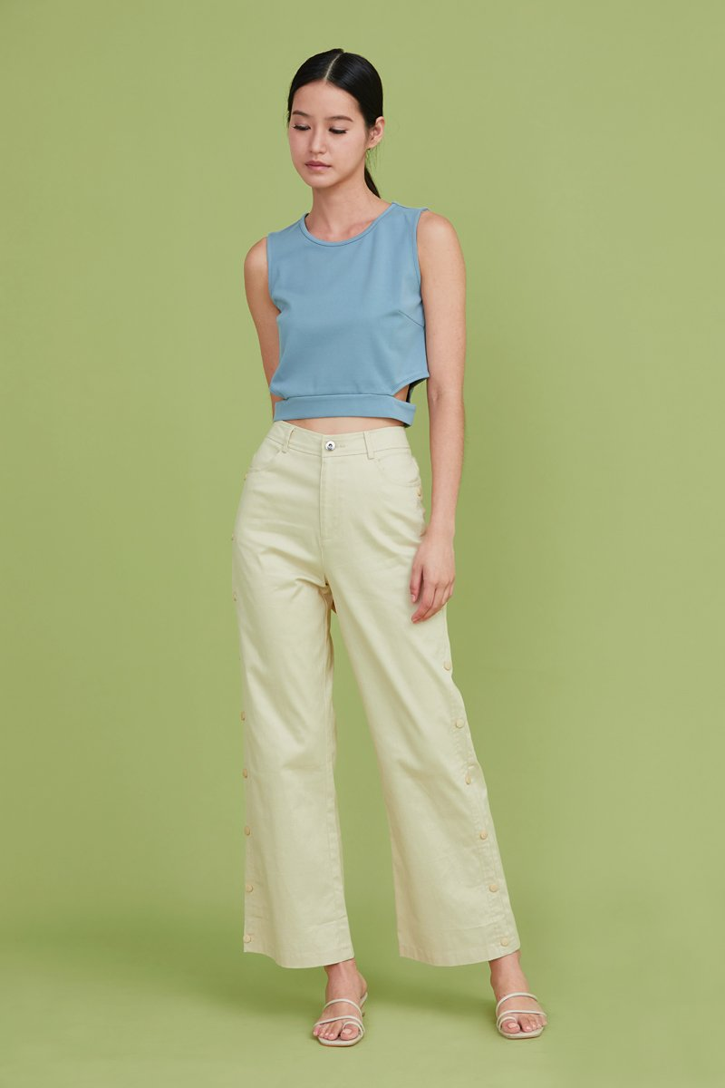 Raine Side Button Pants Cream