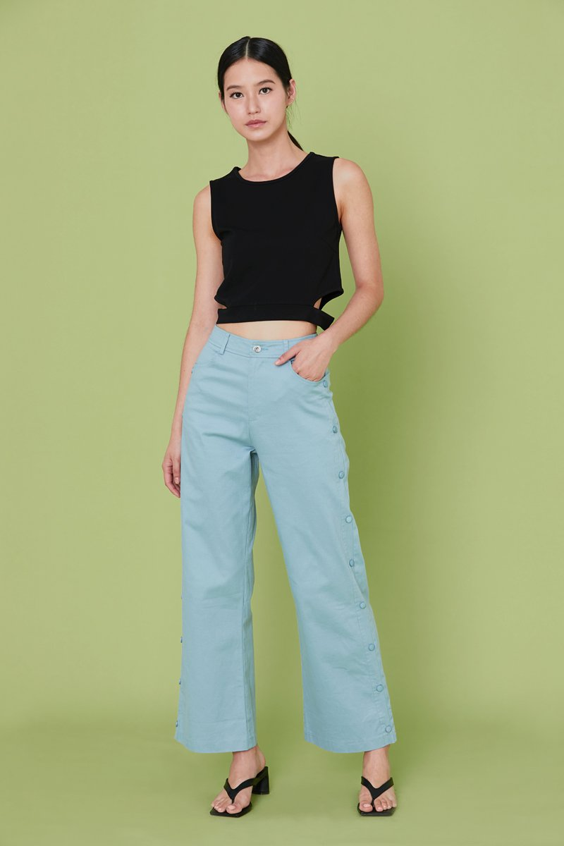 Raine Side Button Pants Cobalt