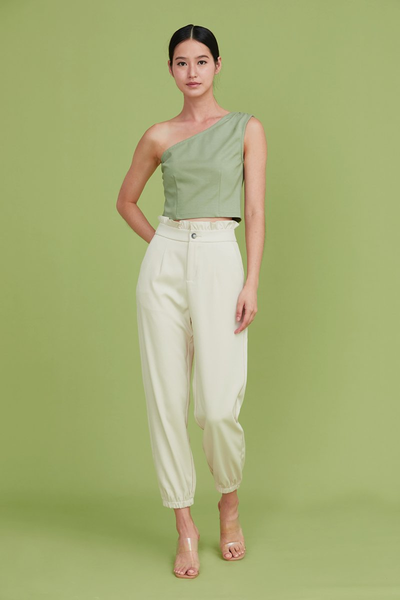 Leeann Ruffled Tapered Pants Cream