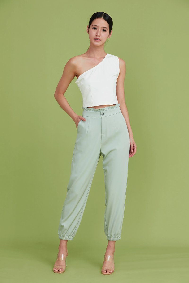 Leeann Ruffled Tapered Pants Mint