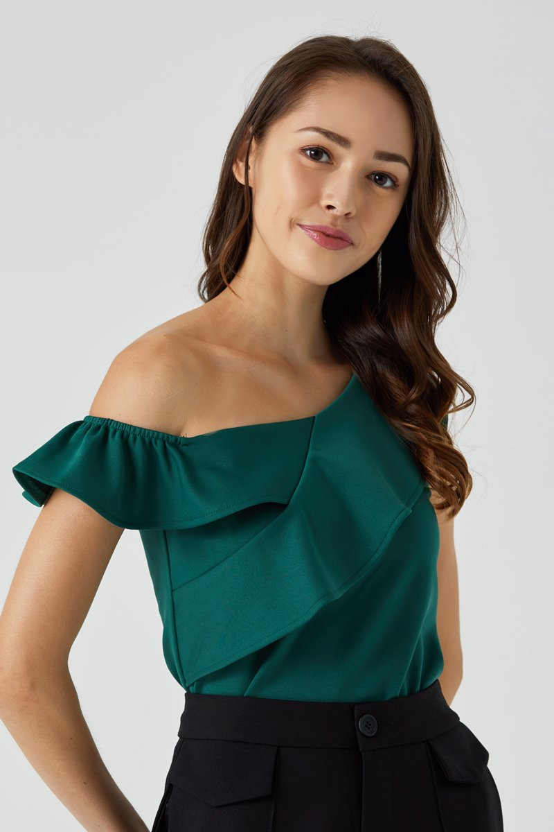 Abra Off Shoulder Toga Top Forest