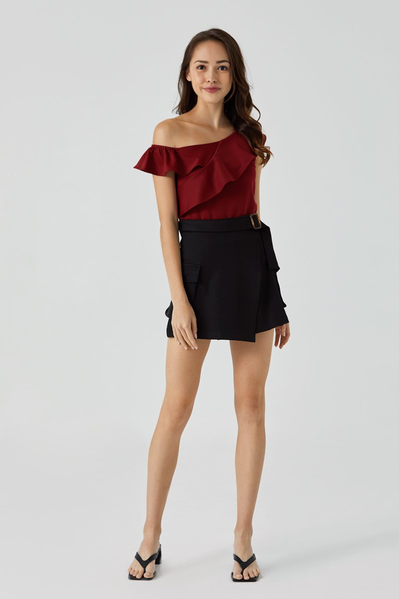 Abra Off Shoulder Toga Top Maroon