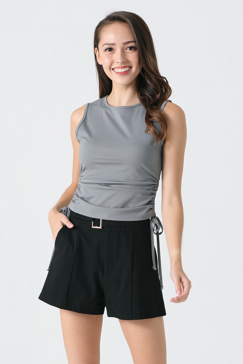 Adley Side Scrunched Top Grey