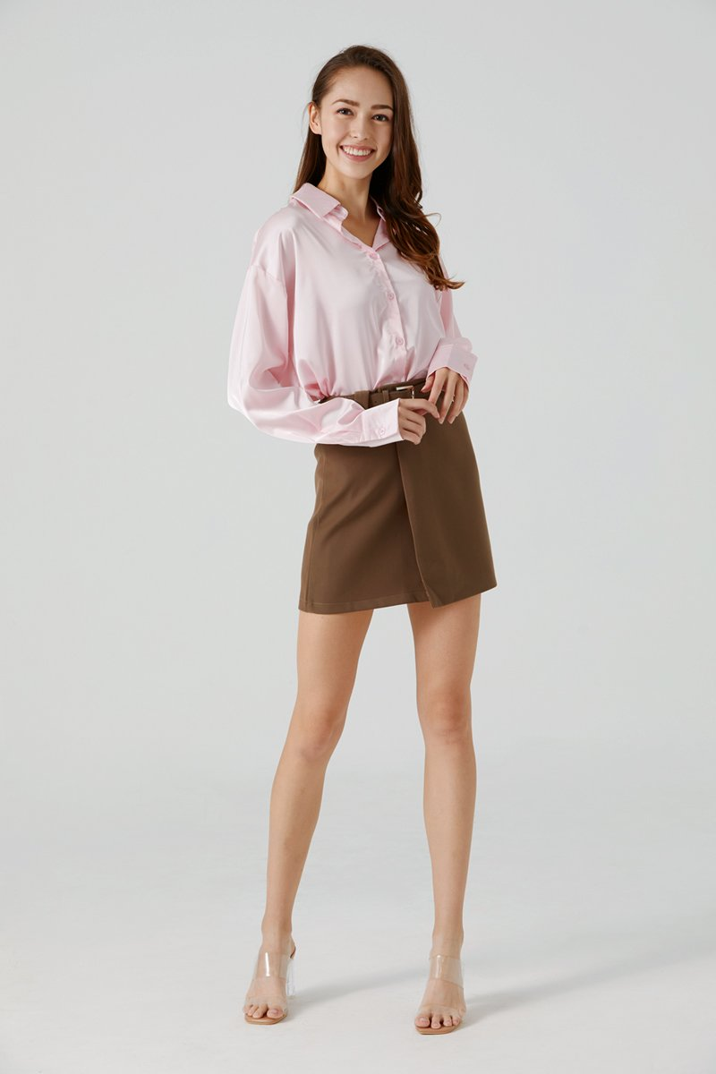 Elyn Satin Button-up Shirt Blush