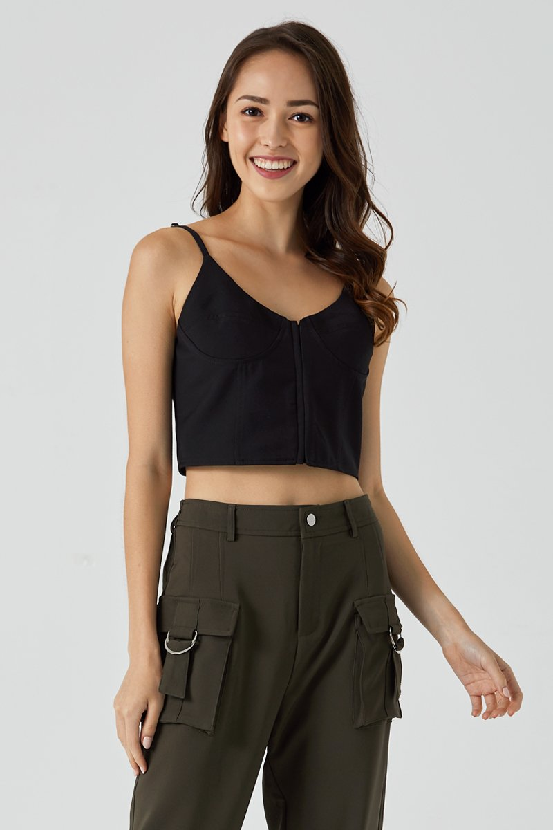 Eliana Bustier Crop Top Black