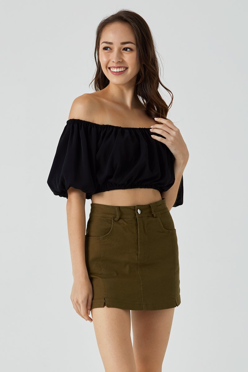 Diana Off-Shoulder Crop Top Black