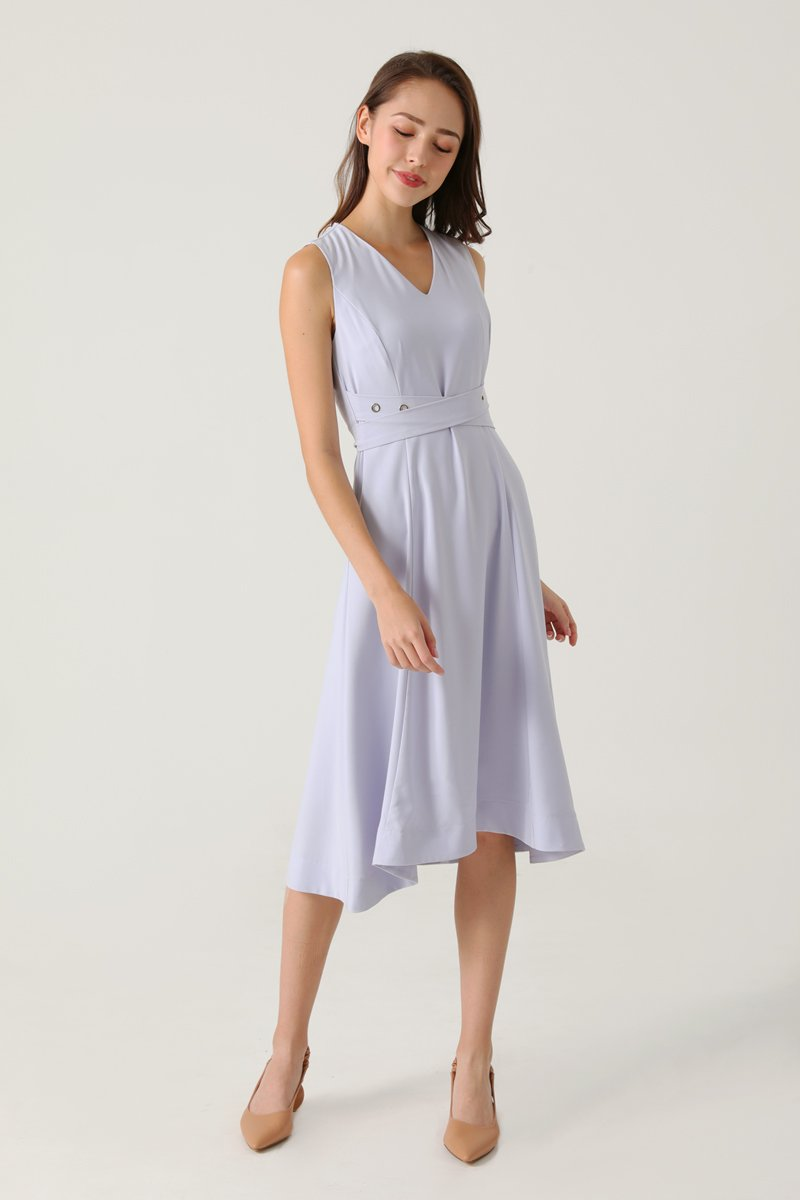 Avia V-Neck Midi Dress Sky