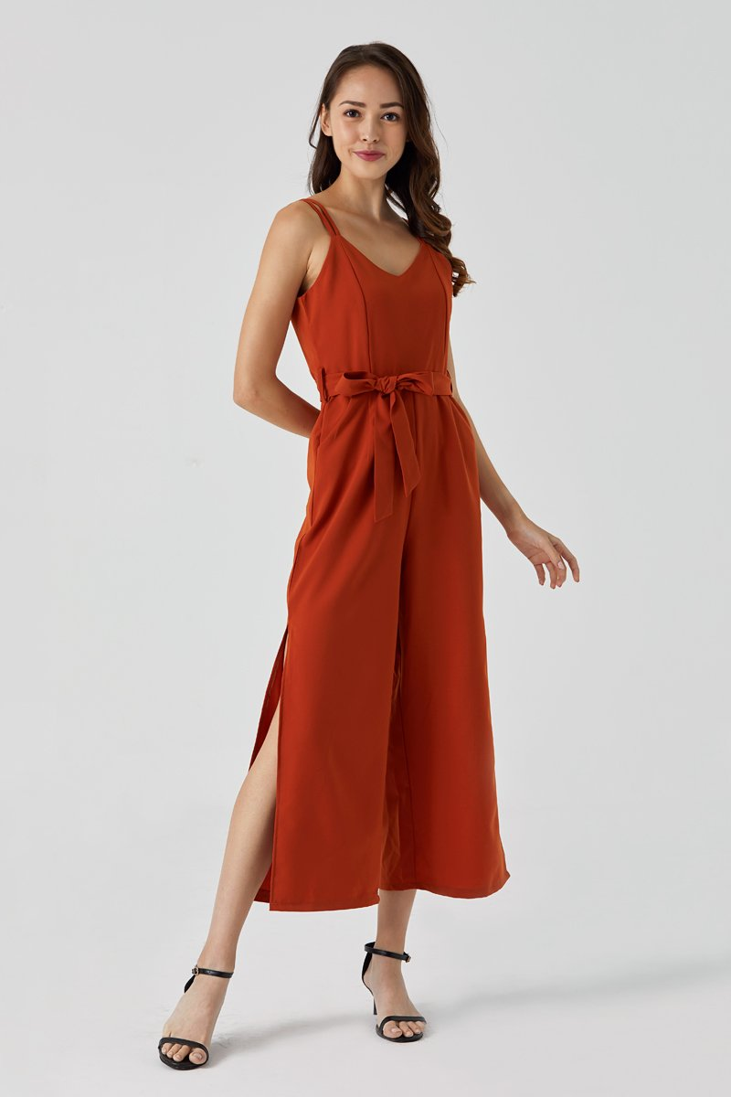 Clarice High Slit Jumpsuit Rust