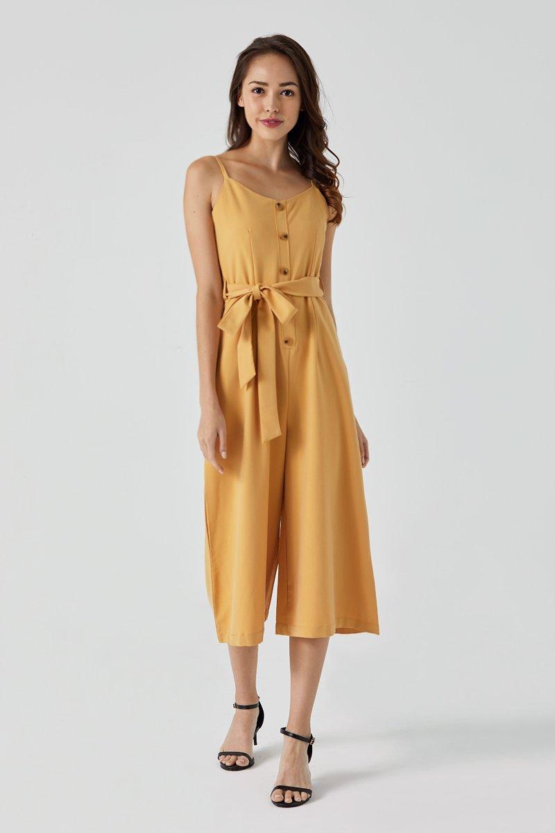 Thea Waist Ribbon Jumpsuit Daffodil