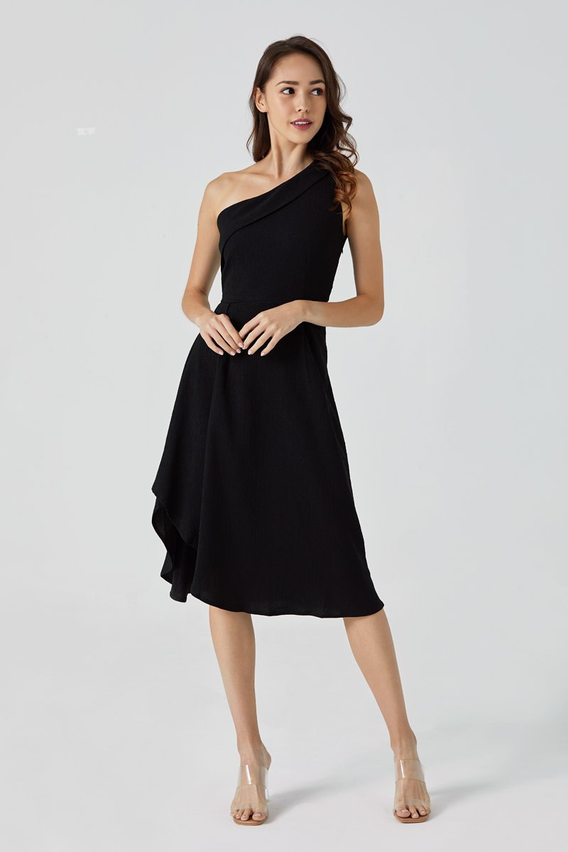 Felicia Toga Asymmetrical Maxi Dress Black