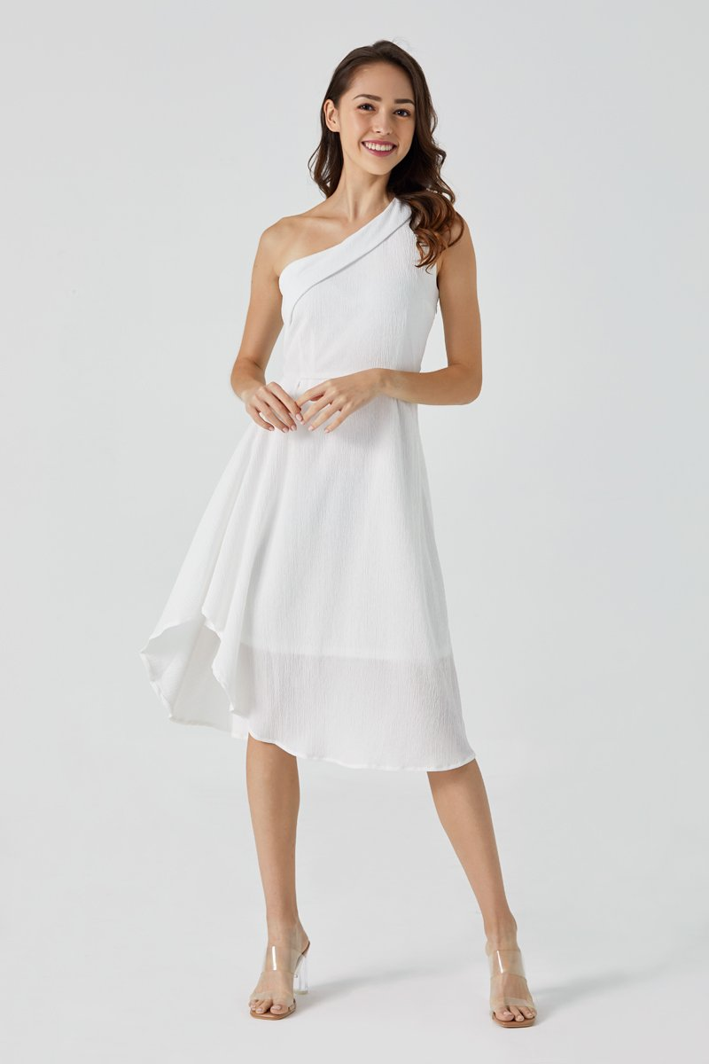 Felicia Toga Asymmetrical Maxi Dress Ivory