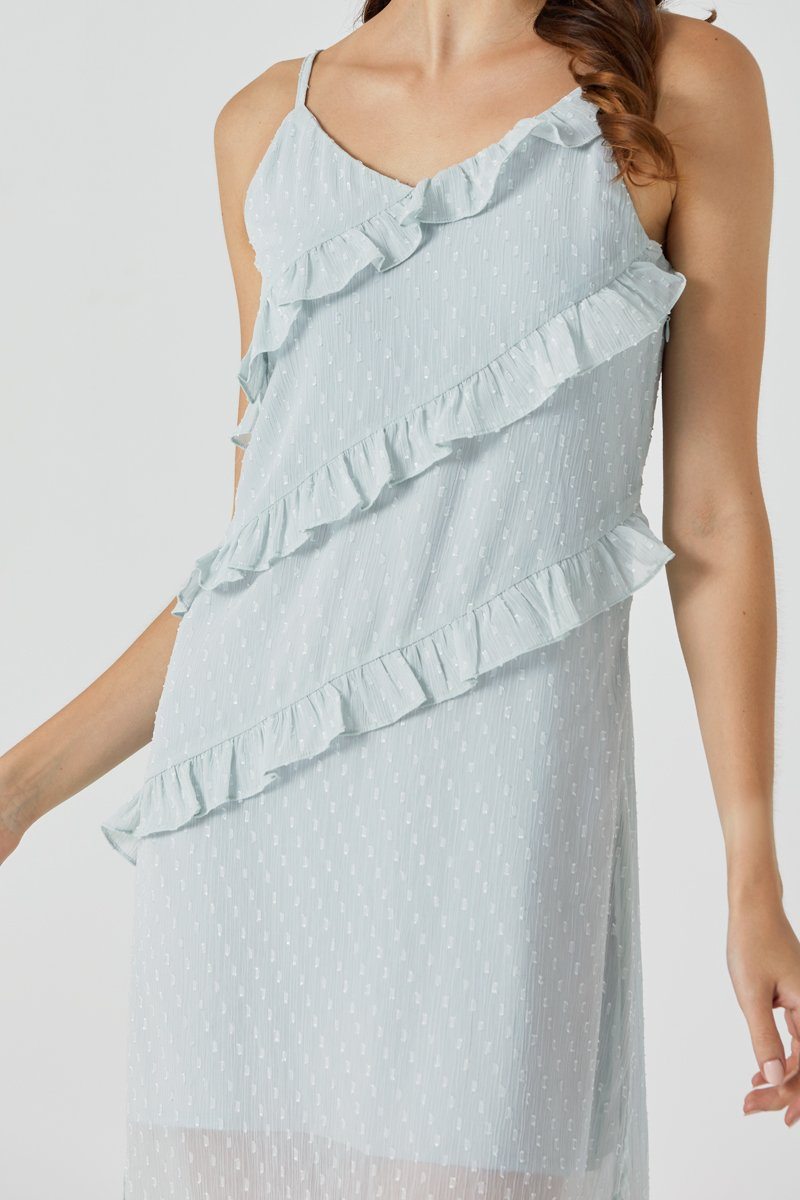 Xenia Ruffle Maxi Dress Mint