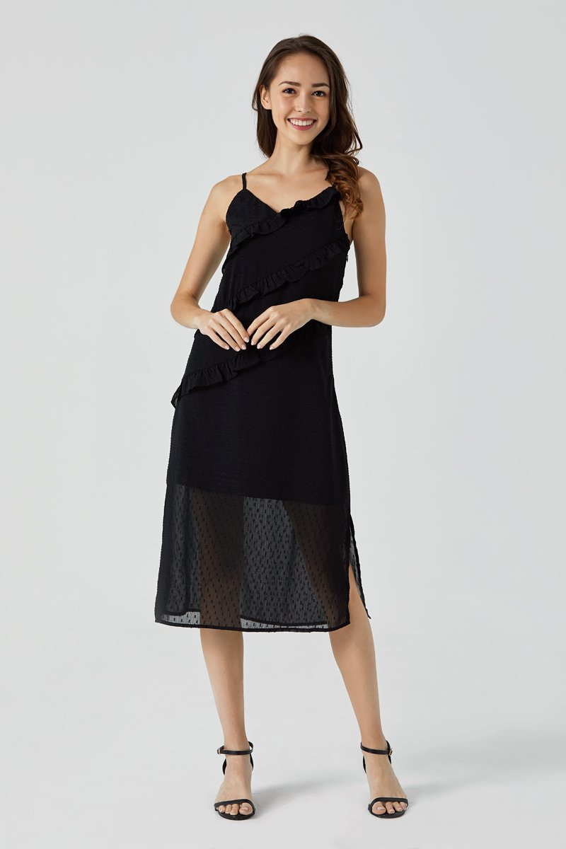 Xenia Ruffle Maxi Dress Black
