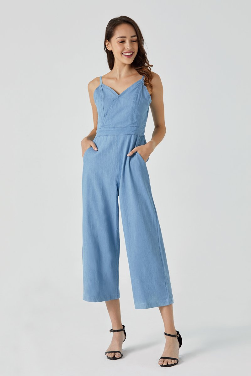 Kristine V Neck Denim Jumpsuit Light Wash