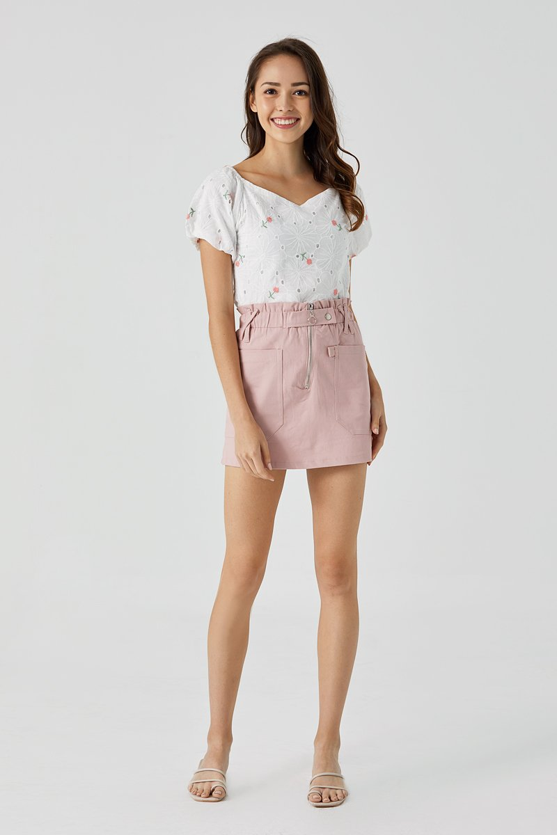 Edie Paperbag Skirt Blush