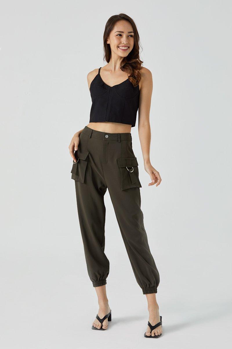 Zarah Cargo Elastic Pants Olive