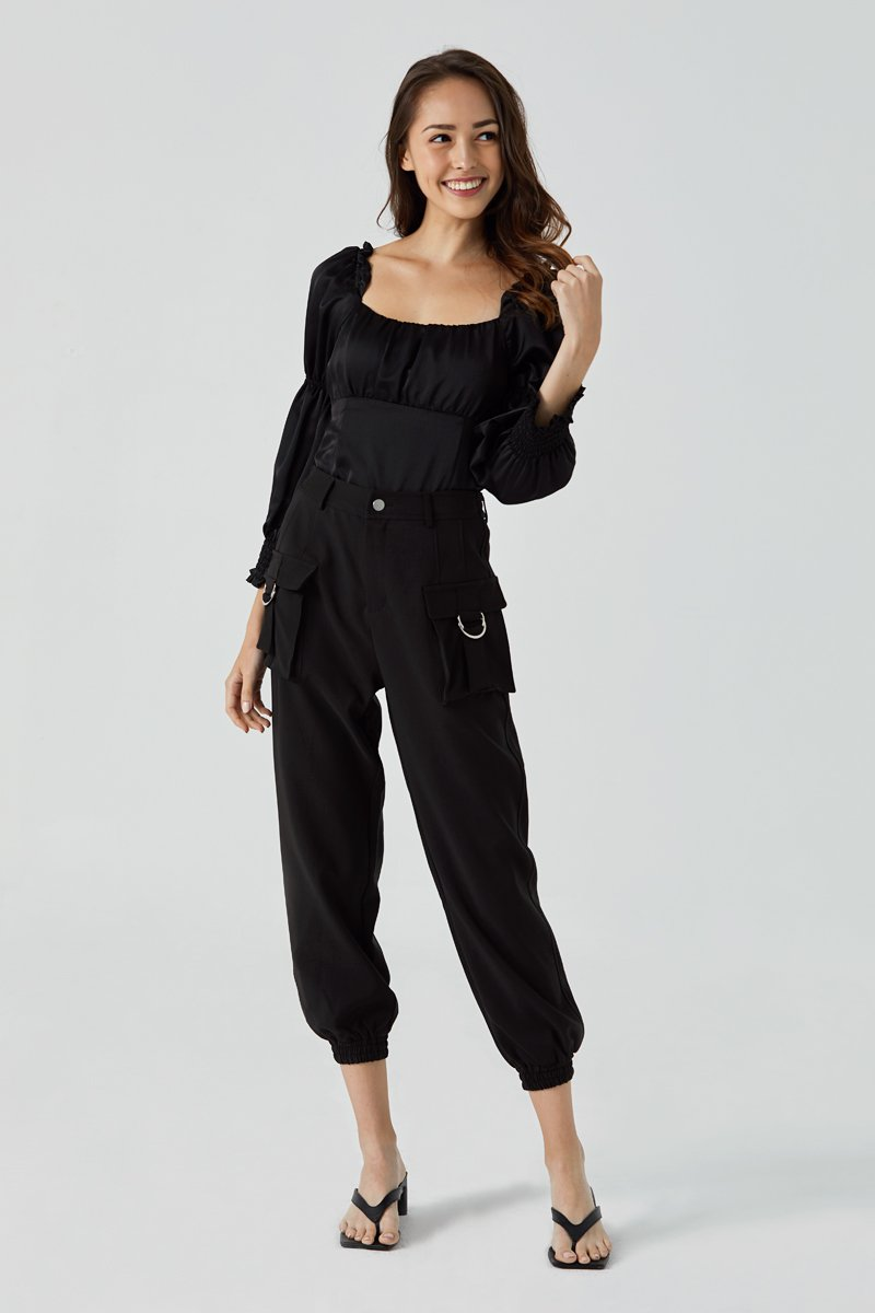 Zarah Cargo Elastic Pants Black