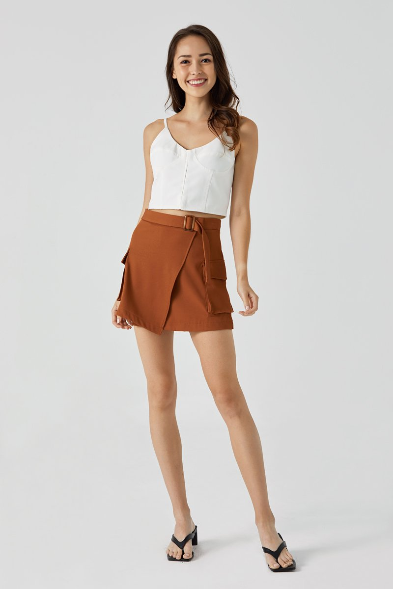Nina Jade Overlap Skirt Rust