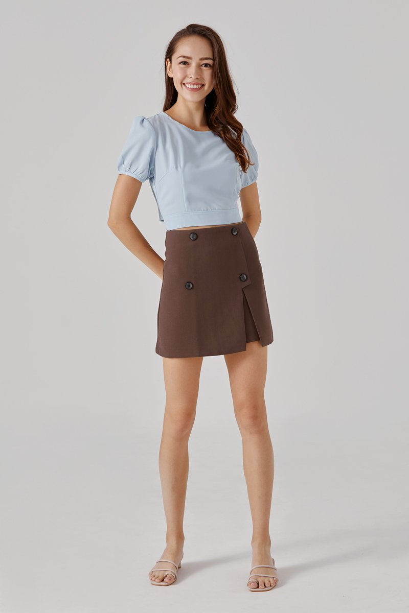 Nila Button Skirt Cocoa