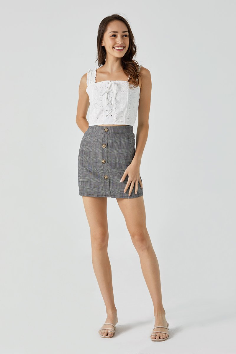 Monika Gingham Mini Skort Brick