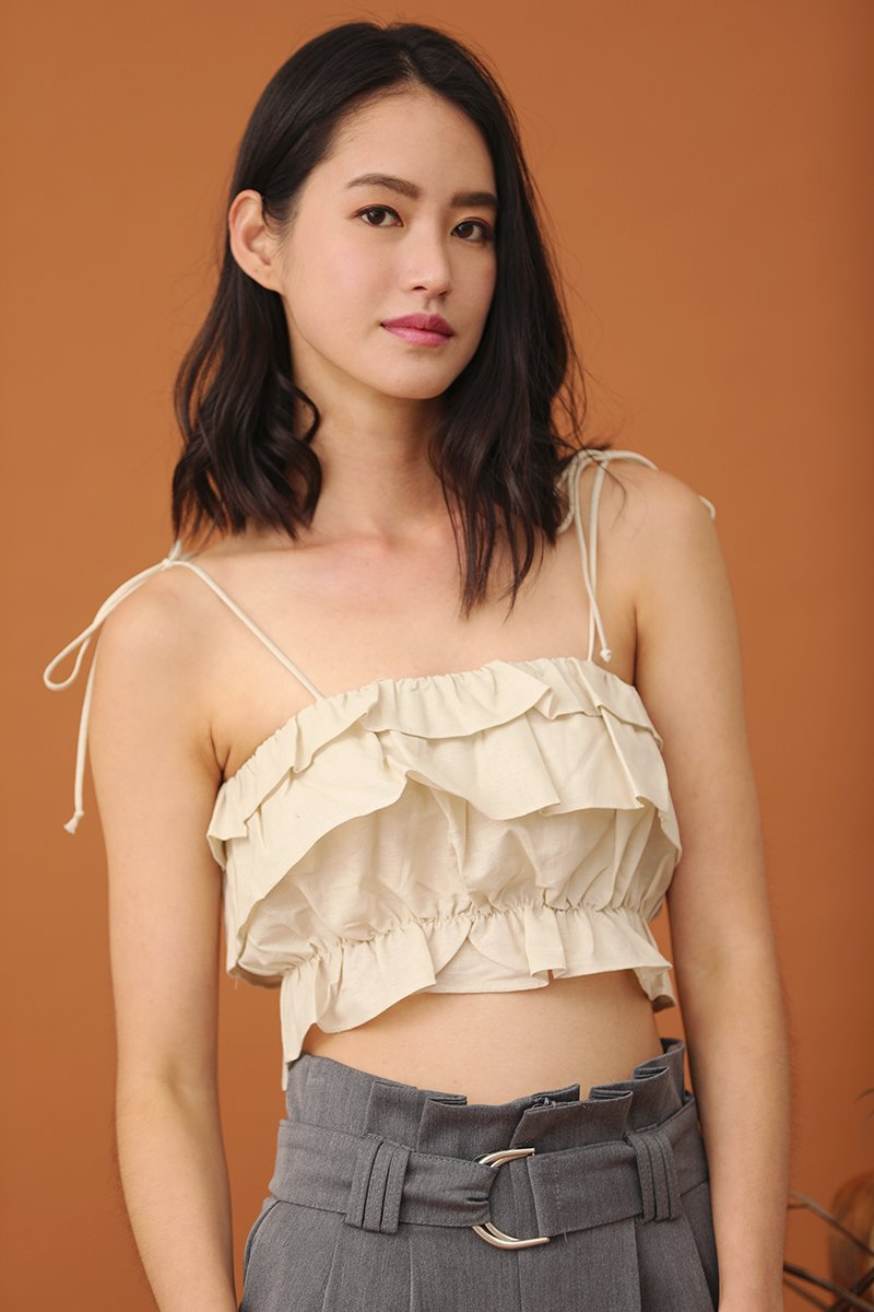 Tamlyn Ruffled Cami Top Cream